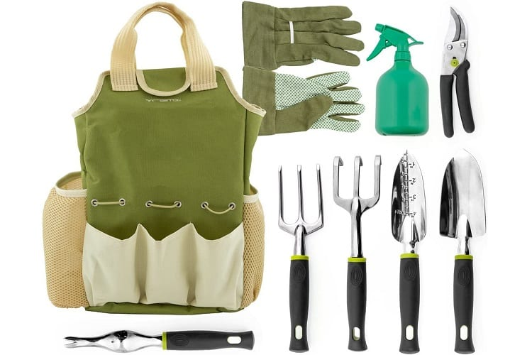 Gardening Tools with Garden Gloves and Garden Tote